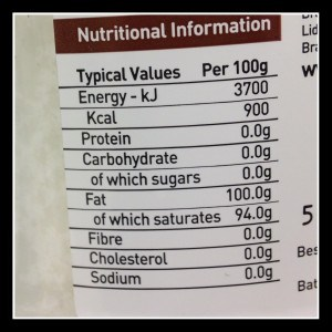 coconut oil nutritional info