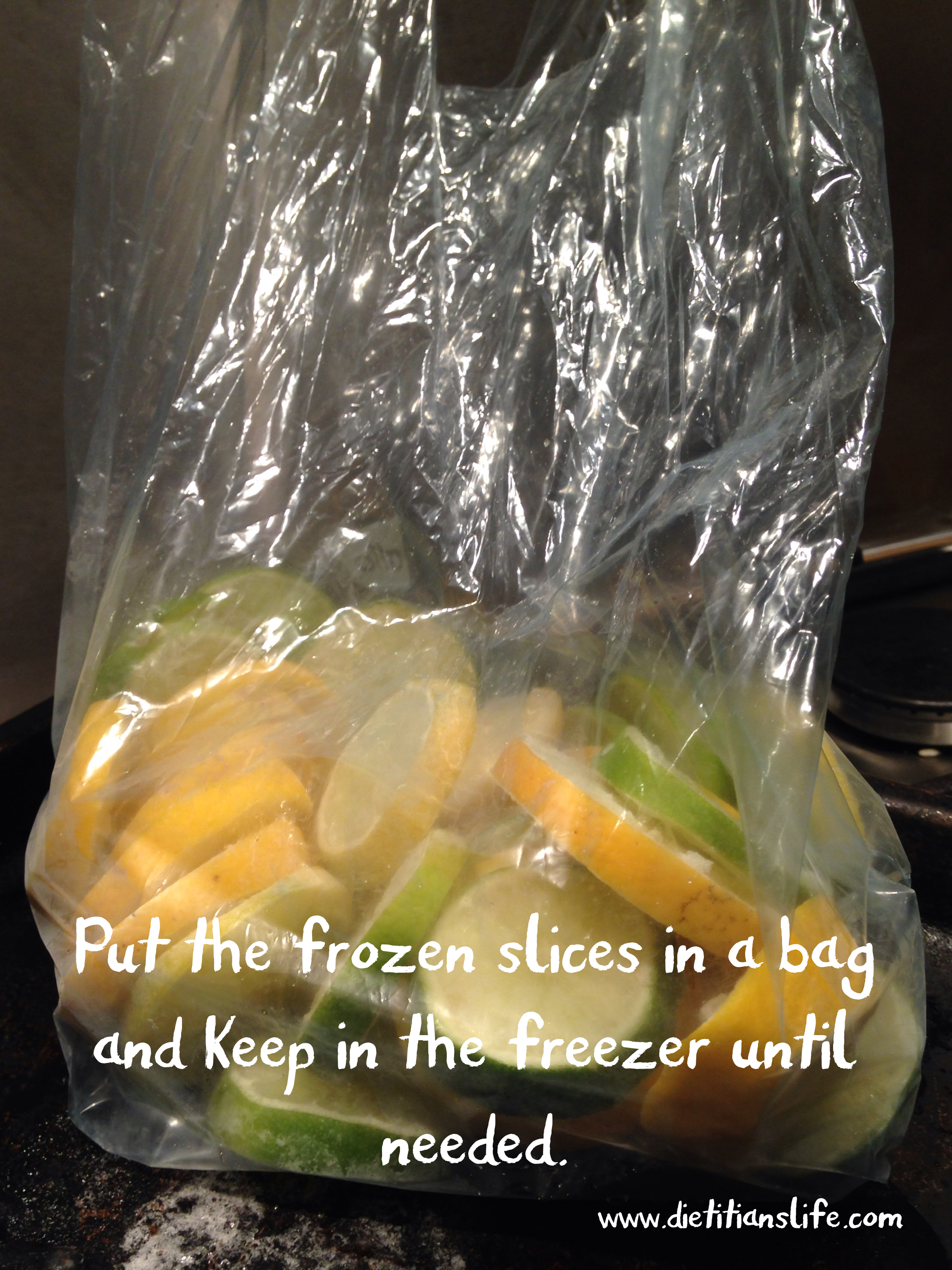 Put frozen slices in to a bag and keep in the freezer