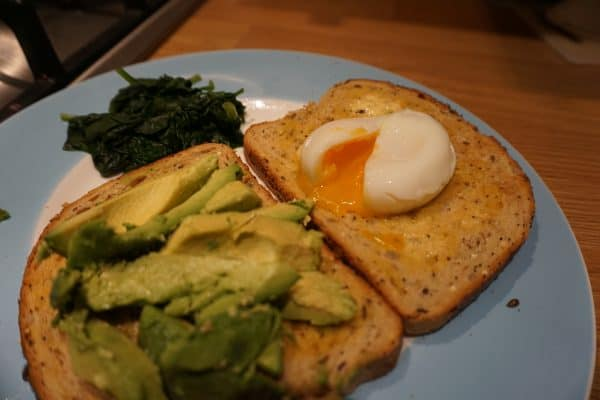 Poached egg and avocado slices
