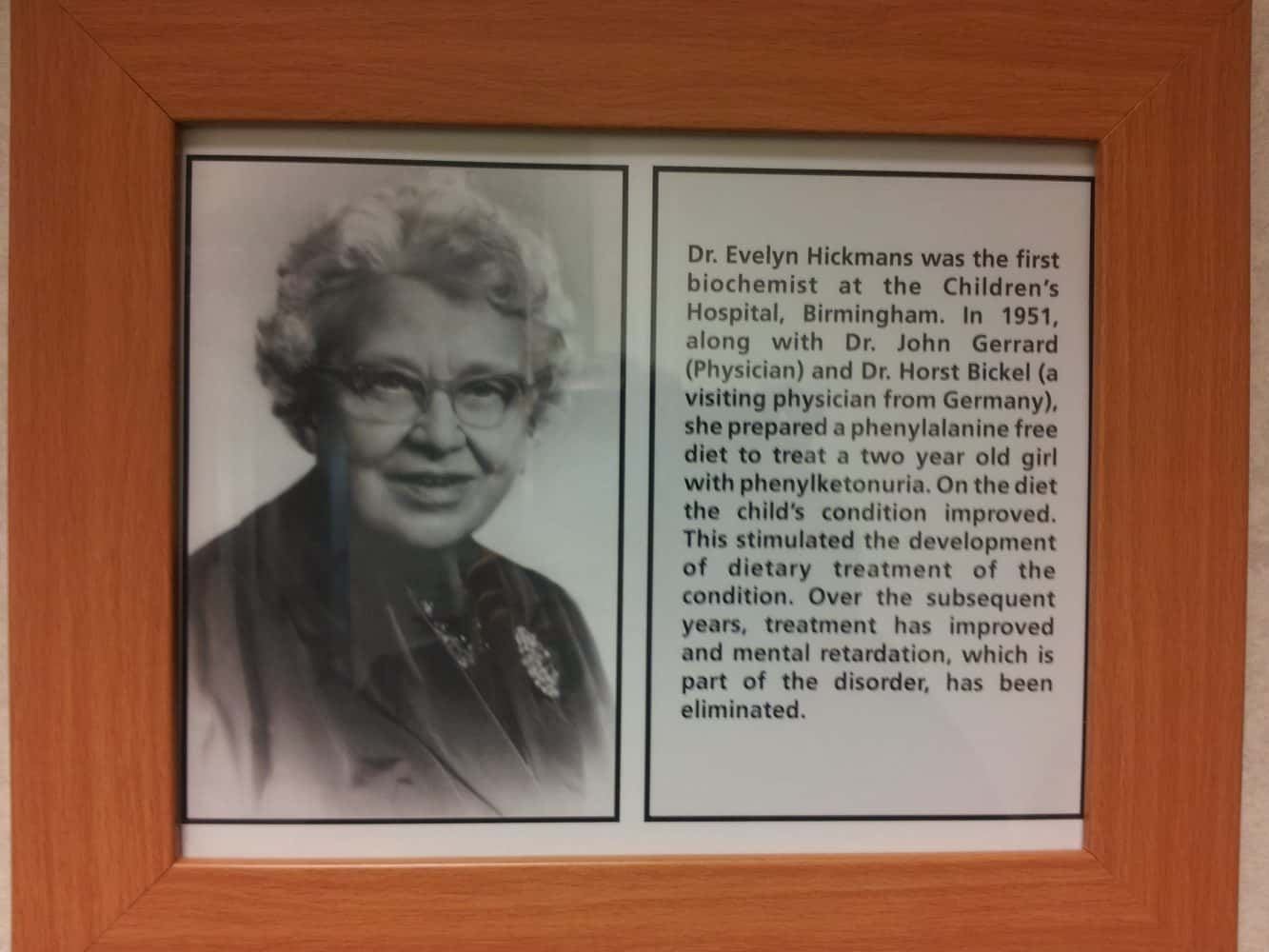 A photo of Dr Evelyn Hickman that is on the wall at the Birmingham Childrens' hospital lab.