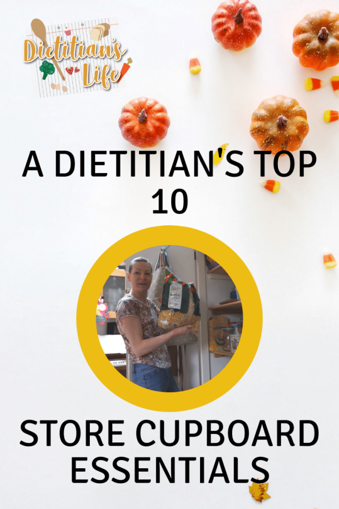 A Pinterest pin image showing a dietitian holding a big bag of pasta looking in her store cupboard.